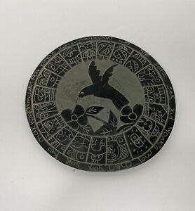 Mayan Calendar Slate Hand Carved Belize approximately 7.5""