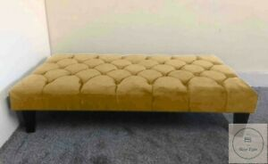 Large Chesterfield Footstool / Coffee Table In Plush Velvet Fabric