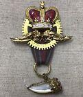 Steampunk brooch- Airship Medal- Crown, Wings, Clock Gear, Vintage Horn Charm