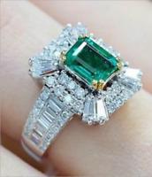 Elegant Green Emerald Wedding Bridal Ring 10Kt White Gold Jewelry Gift Size 6-10