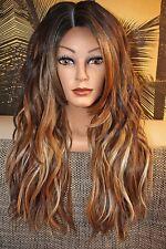 Perücke Spitzenperücke Lace wig front silk top ombre gewellt mix blond schwarz