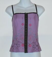 """Heart Soul"" Ladies Embroidered Front Closure Cami Style Top Lavender& Brown XL"