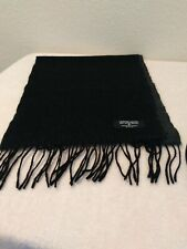 Geoffrey Beene Mens 100% Pure Wool Black Gray Scarf 54 X 12 Made In Italy