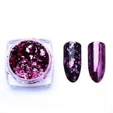 Nail art glitter holographic broken glass foil mirror flakes powder, pink colour