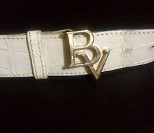"""Authentic Bottega Veneta Leather Belt Gold Buckle White Leather Belt 28""""-32"""" IT"""