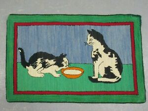 """Antique Vintage Hooked Mat Rug Two Cats and Saucer of Milk 35"""" X 23"""""""