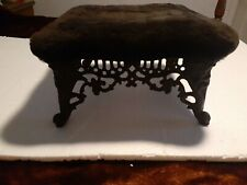 Antique vintage cast iron ornate foot stool in black French/ Victorian ottoman
