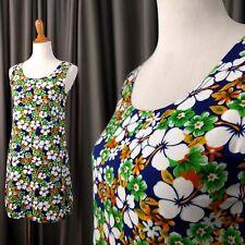 Luau Hawaii Dress light & flowing Blue Floral Hawaiian Print Tiki Pullover S M