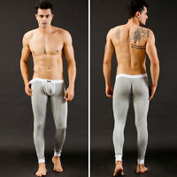 Men Sexy Tight Smooth Thermal Underwear Bulge Pouch Long Johns Pants 5Color SML