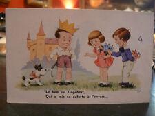 cpa  illustrateur signée jim patt enfant chien culotte a l'envers humour