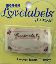 HANDMADE BY Woven Labels (Qty-4)  Iron-On/Sew-In