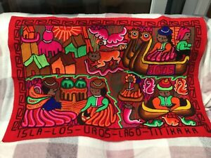 Beautiful/ Vibrant Peruvian Embroidered Handmade Wall Hanging Art From Uros