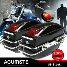 Universal Motorcycle Luggage Hard Side Case Saddlebags For Cruiser Harley Yamaha