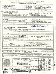Robert Shade Signed Army Discharge Document BAS D87889 WWII Manhattan Project