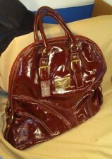 GUIA'S Large Deep Burgundy Red Patent Leather Handbag Purse Made In Italy