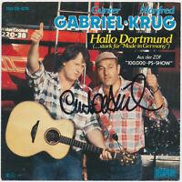 """GUNTER GABRIEL  Hallo Dortmund - 7"""" Single 1986, Coverhülle SIGNIERT hand signed"""