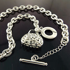 NECKLACE CHAIN 925 STERLING SILVER S/F SOLID LINK ANTIQUE BAG T'BAR FS3A917