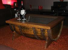 WHISKY Barrel tavolino con vetro rovere e intarsi Coperchio