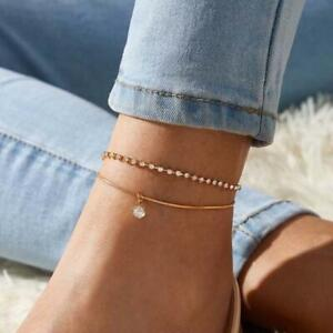 Crystal Diamante Ankle Bracelet Womens Anklet Adjustable Chain Foot Beach Beads