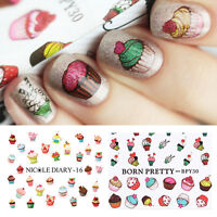 2x Cake Dessert Water Decals Tips Colorful Nail Art Manicure Transfer Stickers