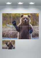 Cute Funny Grizzly Bear Waving Wildlife Large Wall Art Poster Print