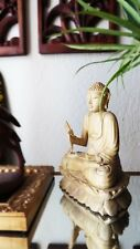 "8"" Bali Rare Croc Wood Altar Buddha Statue on Lotus Blossom"