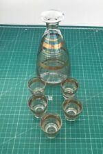 Vintage Glass Decanter Carafe & 5 Matching Shot Glasses Gold Stripes VGC M1334