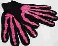 SKELETON GLOVES PINK Bones Print (Halloween Goth Costume Horror)