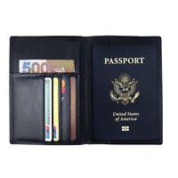 RFID Blocking Genuine Leather Passport Holder Cover Case Travel Wallet Men Women