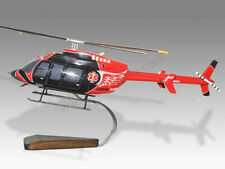 Bell 407 Unity Health Solid Mahogany Wood Handcrafted Display Helicopter Model
