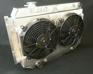 HOLDEN HQ HJ HX HZ V8 253-308 4 ROW ALUMINIUM RADIATOR WITH 2 FANS&SHROUD (246)