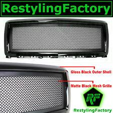 14-15 Chevy Silverado 1500 Matte Black Wire Mesh Grille Front Hood Black Shell