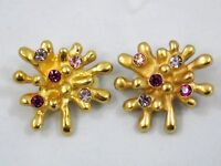 Christian Lacroix Gold Gilt Abstract Anemone Flower Clip Earrings Pink Crystals