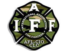 4x4 inch CAMO Maltese Shaped IAFF AFL CIO Sticker - fire firefighter camoflauge