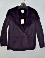 Women's Vince Hooded Genuine Shearling Coat Size small Black Nwt $2,395 fur S
