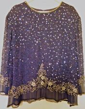 LAWRENCE KAZAR NY BLUE MULTICOLOR BEAD SEQUIN TOP BLOUSE HOLIDAY PARTY WEDDING
