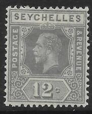 SEYCHELLES SG107a 1932 12c GREY DIE I MTD MINT