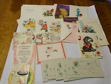 17 unused vintage greeting cards and 7 flat birth announcements birthday blank
