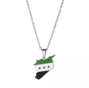 Free Syria map Nacklace , silver