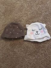 Carters Infant Girls White Brown Hats 6 Months