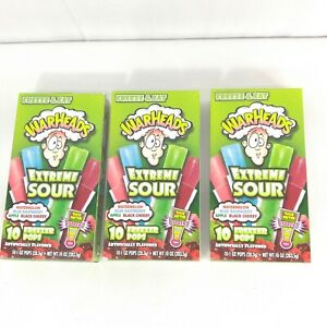Extreme Sour Warheads Freezer Pops Bars Lot of 3 Boxes Watermelon Cherry Apple