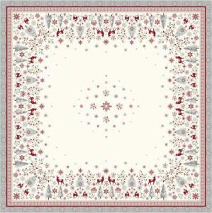 Weihnachten Jacquard Mitteldecke Hirsch gewebt 100 x 100cm ecru & rot Frankreich