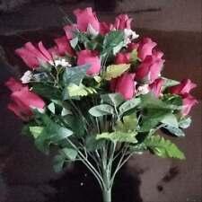 Burgundy Silk Rose Buds & Grass Bush X 22 Heads
