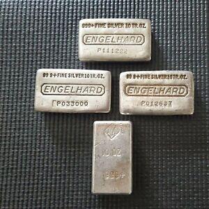 Three Engelhard 10oz Silver Bars and one JM 10oz bar...nice group