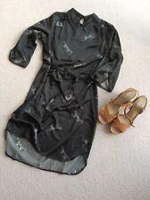 GREAT PLAINS BLACK Silky,  Tie SHIRT DRESS, Brand NEW.  Size Small,   BNWOT