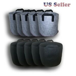 New 3-5-7 Gallon Black/Gray Fabric Pots Grow Bags /w Handles Planting Container