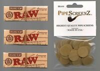 "3X RAW Organic 1 1/4 CONNOISSEUR Rolling papers & 100+ (3/4"") BRASS PIPE SCREENS"