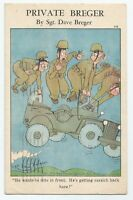 VTG Private Breger c1942 WWII Funny Comic Military Men Flying Jeep Postcard