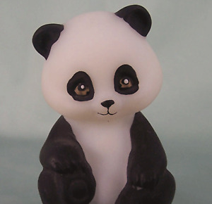 Fenton Sitting Panda Bear H-P Art Glass Figurine Matte Satin New Ol' Store Stock