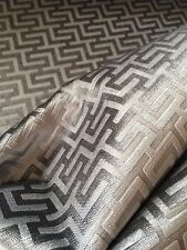 BRUNSCHWIG & FILS Geometric raised velvet chenille silver grey viscose new 3+ yd